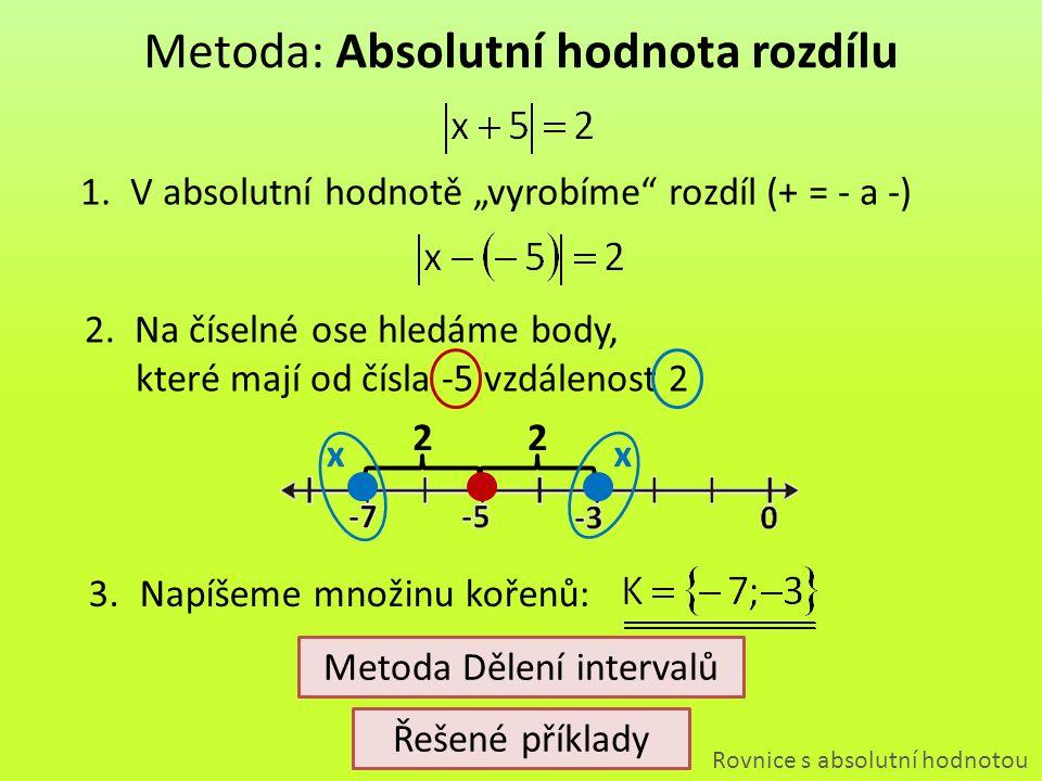 """22 Metoda: Absolutní hodnota rozdílu Rovnice s absolutní hodnotou 1.V absolutní hodnotě """"vyrobíme"""" rozdíl (+ = - a -) 2.Na číselné ose hledáme body, k"""