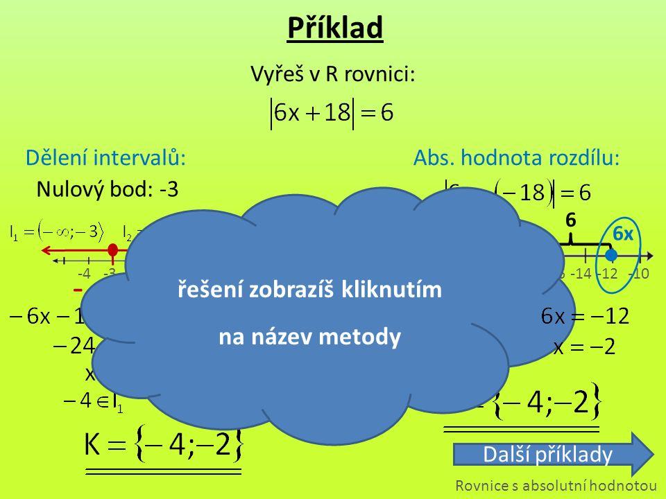 6 -4-3-20 -22-20-18 -16-14 -24 -12-10 - Příklad Vyřeš v R rovnici: Dělení intervalů:Abs. hodnota rozdílu: + Nulový bod: -3 6 6x Rovnice s absolutní ho