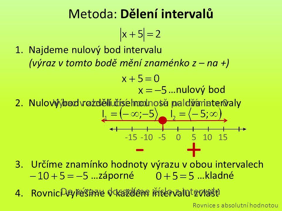 2.Nulový bod rozdělí číselnou osu na dva intervaly 4. Rovnici vyřešíme v každém intervalu zvlášť Metoda: Dělení intervalů Rovnice s absolutní hodnotou