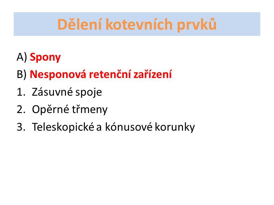 Dělení kotevních prvků A) Spony B) Nesponová retenční zařízení 1.Zásuvné spoje 2.Opěrné třmeny 3.Teleskopické a kónusové korunky