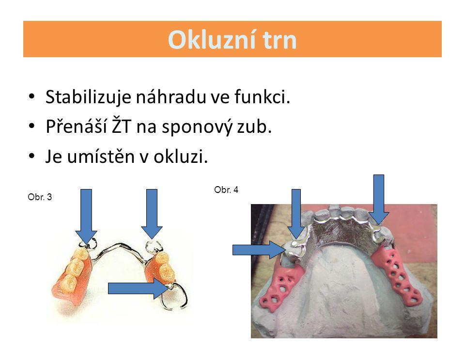 Okluzní trn Stabilizuje náhradu ve funkci. Přenáší ŽT na sponový zub.