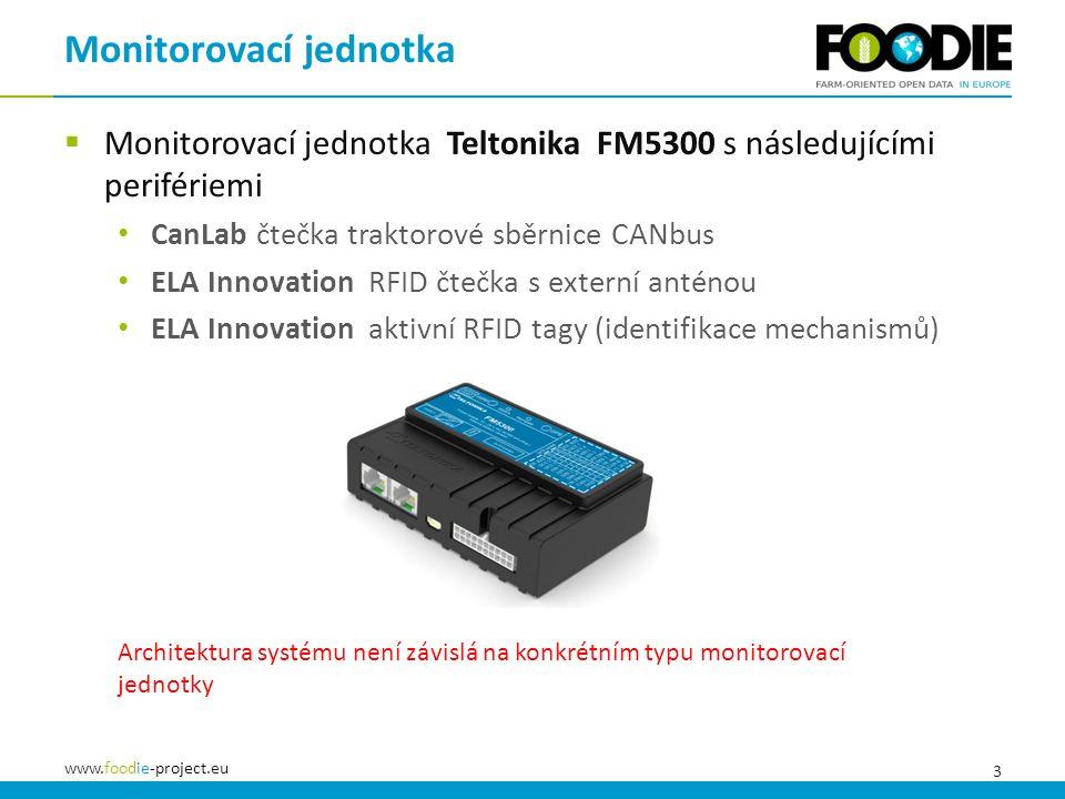 3 www.foodie-project.eu  Monitorovací jednotka Teltonika FM5300 s následujícími perifériemi CanLab čtečka traktorové sběrnice CANbus ELA Innovation RFID čtečka s externí anténou ELA Innovation aktivní RFID tagy (identifikace mechanismů) Monitorovací jednotka Architektura systému není závislá na konkrétním typu monitorovací jednotky