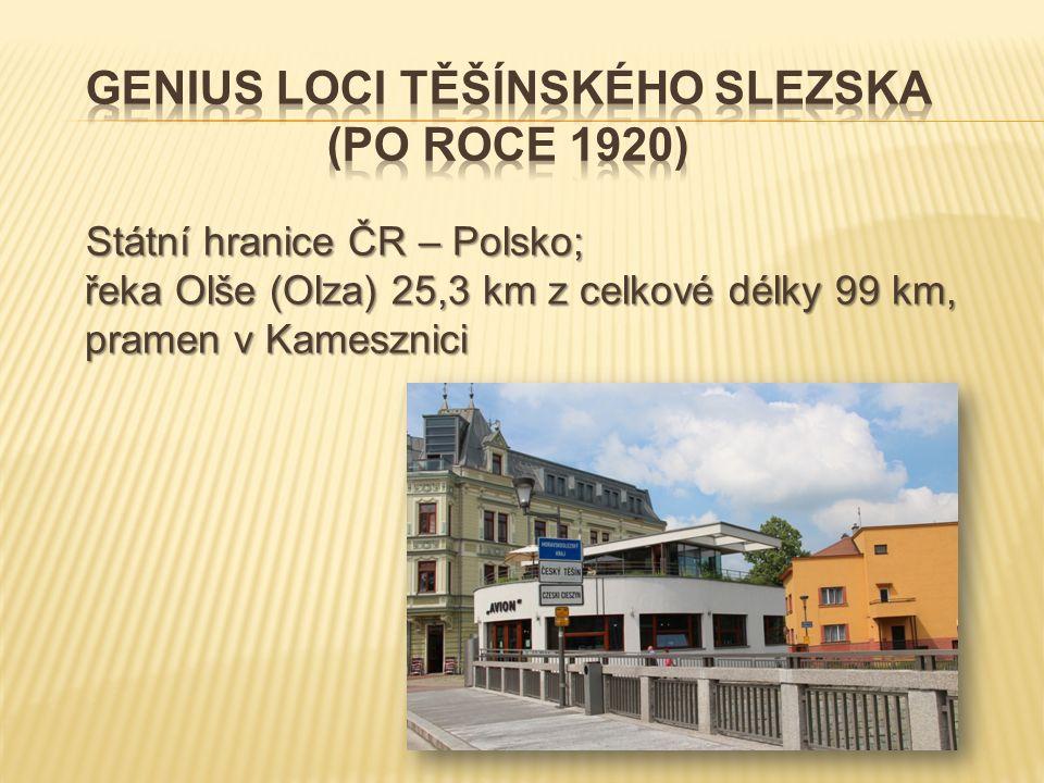 Státní hranice ČR – Polsko; řeka Olše (Olza) 25,3 km z celkové délky 99 km, pramen v Kamesznici