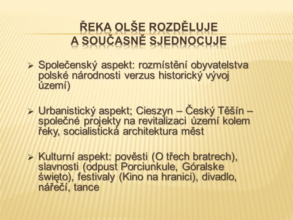  Společenský aspekt: rozmístění obyvatelstva polské národnosti verzus historický vývoj území)  Urbanistický aspekt; Cieszyn – Český Těšín – společné