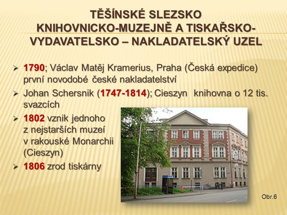 TĚŠÍNSKÉ SLEZSKO KNIHOVNICKO-MUZEJNĚ A TISKAŘSKO- VYDAVATELSKO – NAKLADATELSKÝ UZEL  1790; Václav Matěj Kramerius, Praha (Česká expedice) první novod