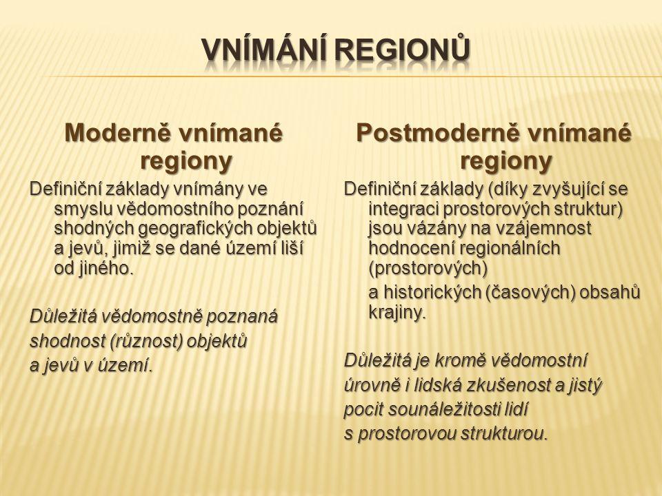 Moderně vnímané regiony Definiční základy vnímány ve smyslu vědomostního poznání shodných geografických objektů a jevů, jimiž se dané území liší od ji