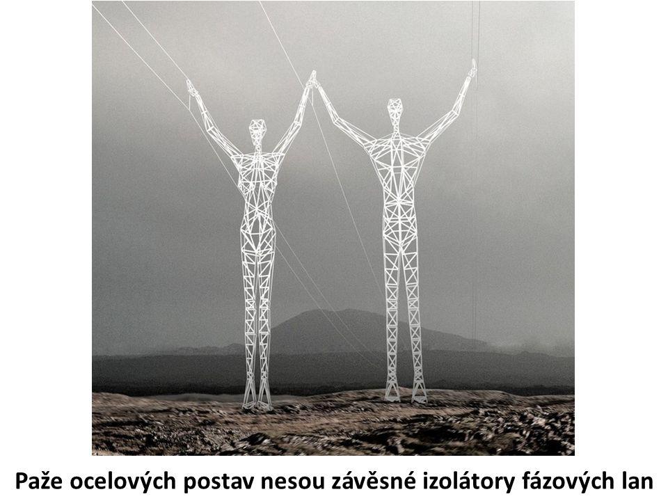 Paže ocelových postav nesou závěsné izolátory fázových lan