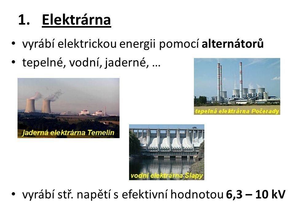 1.Elektrárna vyrábí elektrickou energii pomocí alternátorů tepelné, vodní, jaderné, … vyrábí stř.