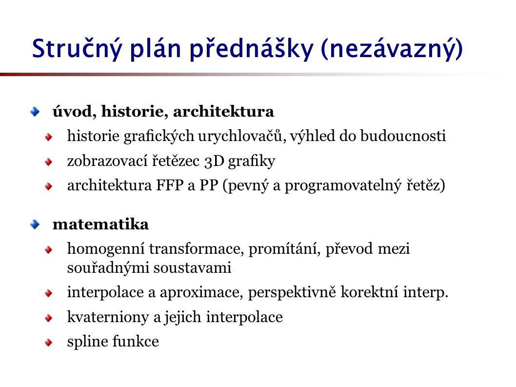 Stručný plán přednášky (nezávazný) úvod, historie, architektura historie grafických urychlovačů, výhled do budoucnosti zobrazovací řetězec 3D grafiky ar