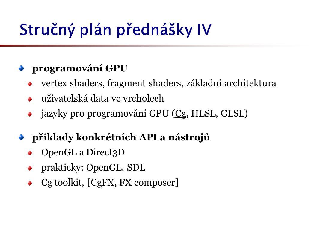 Stručný plán přednášky IV programování GPU vertex shaders, fragment shaders, základní architektura uživatelská data ve vrcholech jazyky pro programová