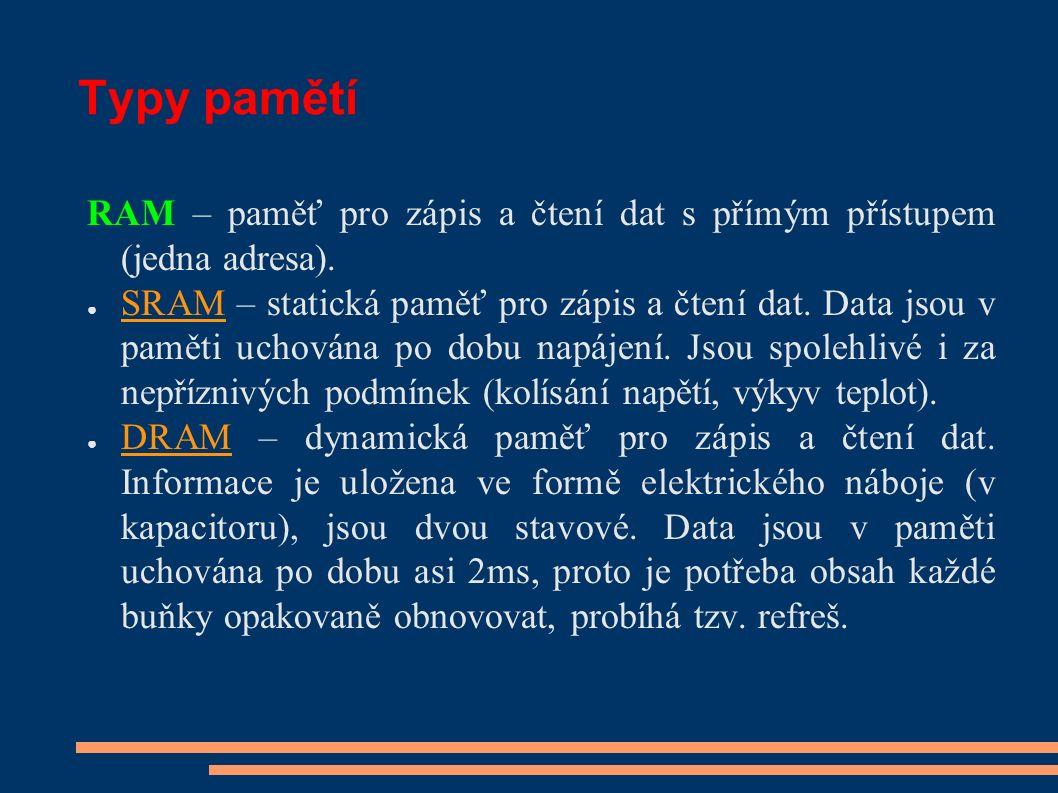 Typy pamětí RAM – paměť pro zápis a čtení dat s přímým přístupem (jedna adresa).