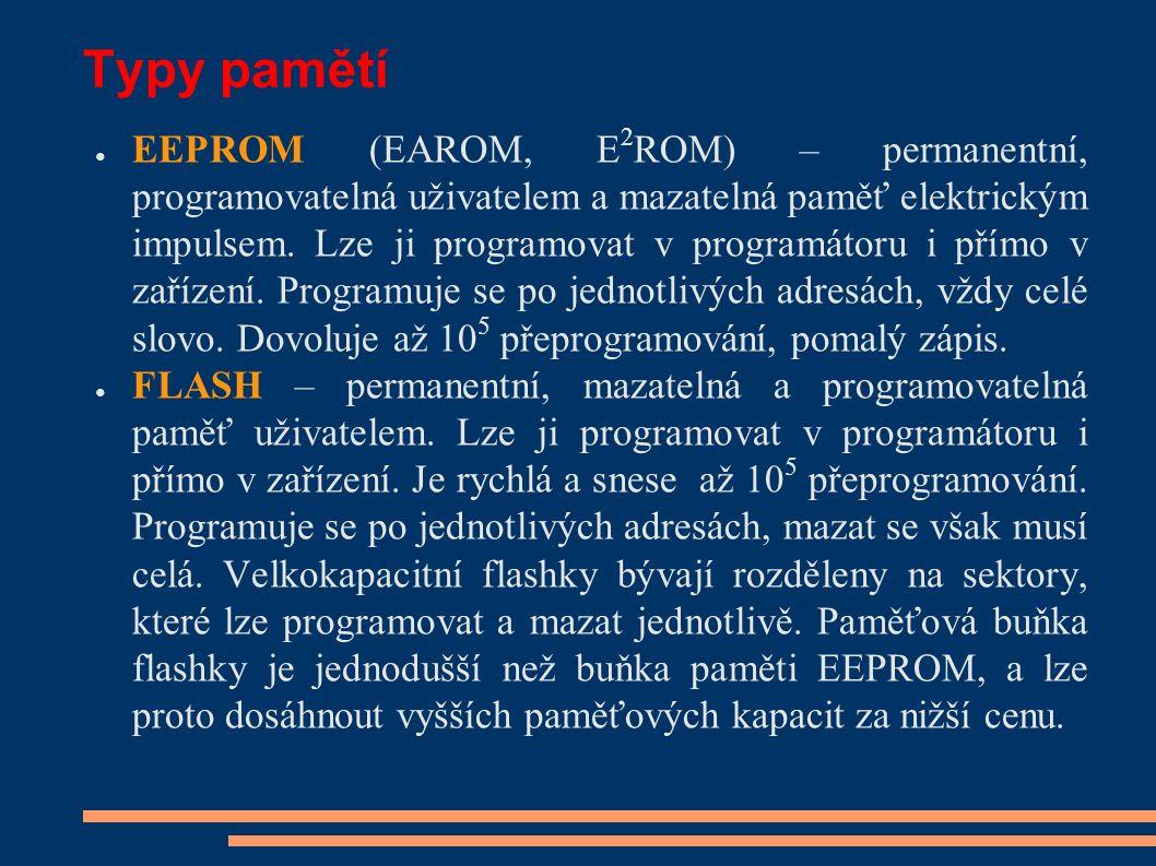 Typy pamětí ● EEPROM (EAROM, E 2 ROM) – permanentní, programovatelná uživatelem a mazatelná paměť elektrickým impulsem.