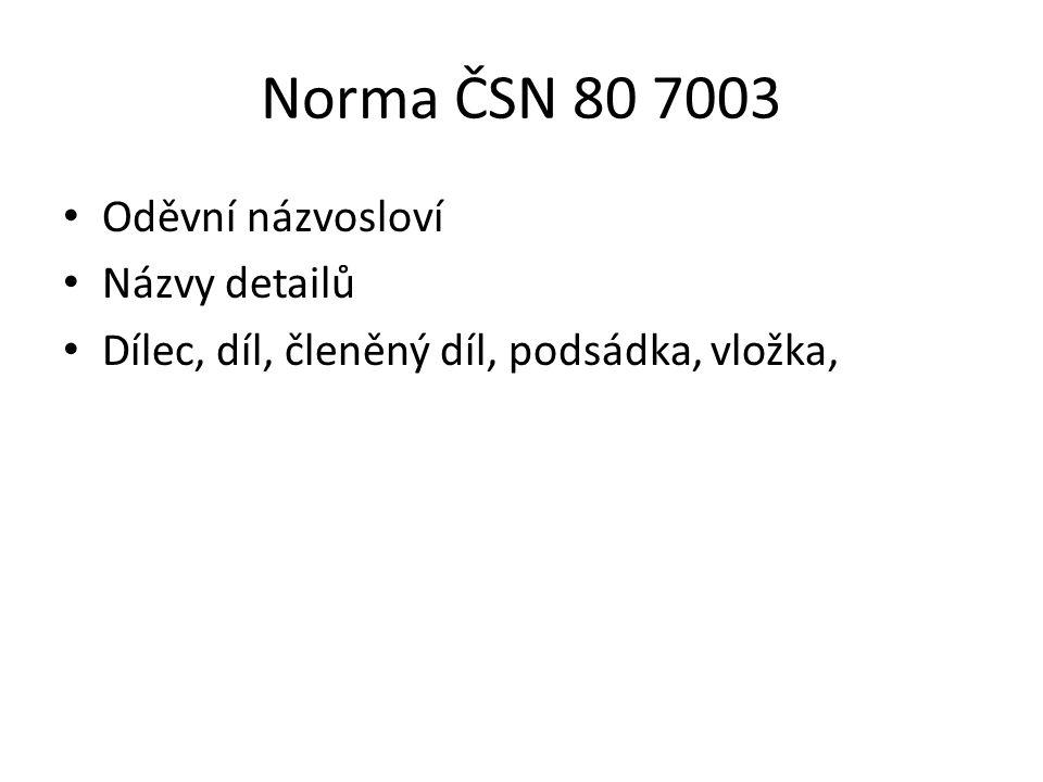 Norma ČSN 80 7003 Oděvní názvosloví Názvy detailů Dílec, díl, členěný díl, podsádka, vložka,