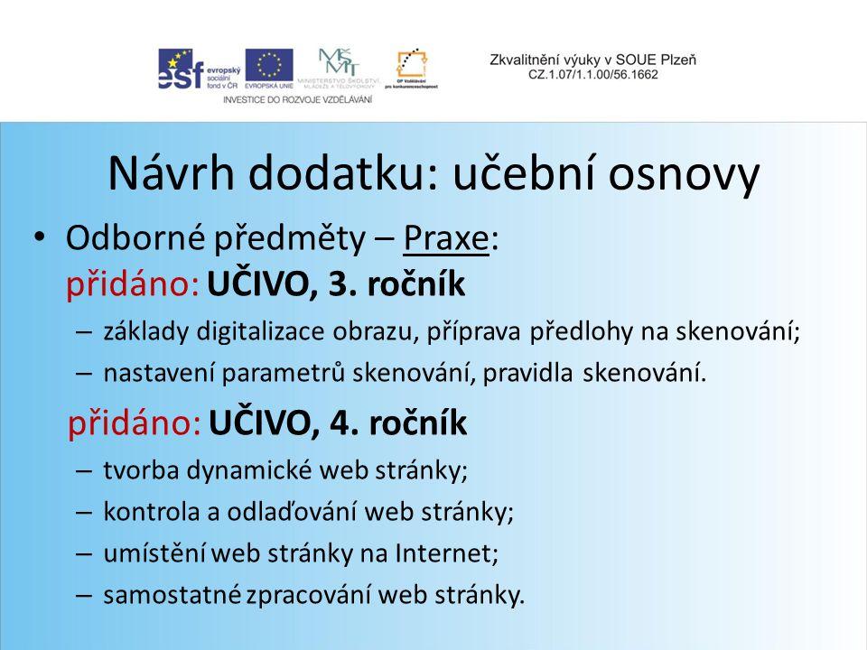 Návrh dodatku: učební osnovy Odborné předměty – Praxe: přidáno: UČIVO, 3.