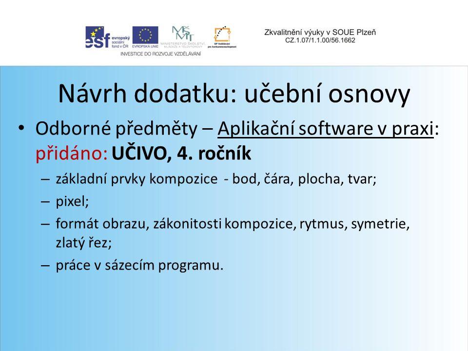 Návrh dodatku: učební osnovy Odborné předměty – Aplikační software v praxi: přidáno: UČIVO, 4.