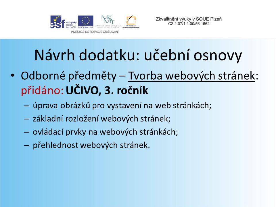 Návrh dodatku: učební osnovy Odborné předměty – Tvorba webových stránek: přidáno: UČIVO, 3.