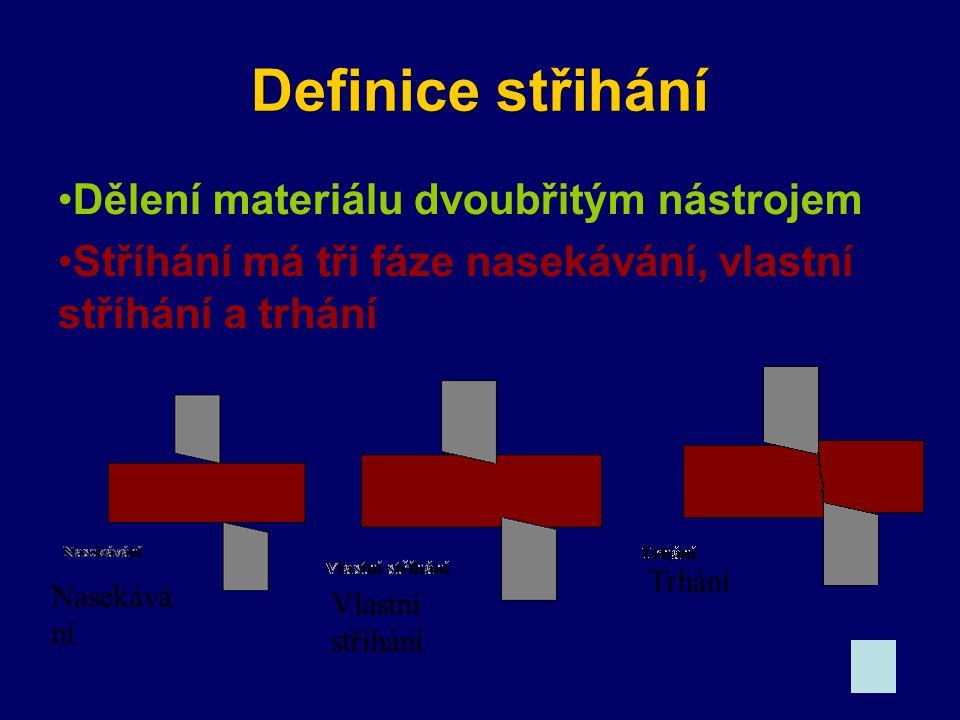 Definice střihání Dělení materiálu dvoubřitým nástrojem Stříhání má tři fáze nasekávání, vlastní stříhání a trhání Nasekává ní Vlastní stříhání Trhání