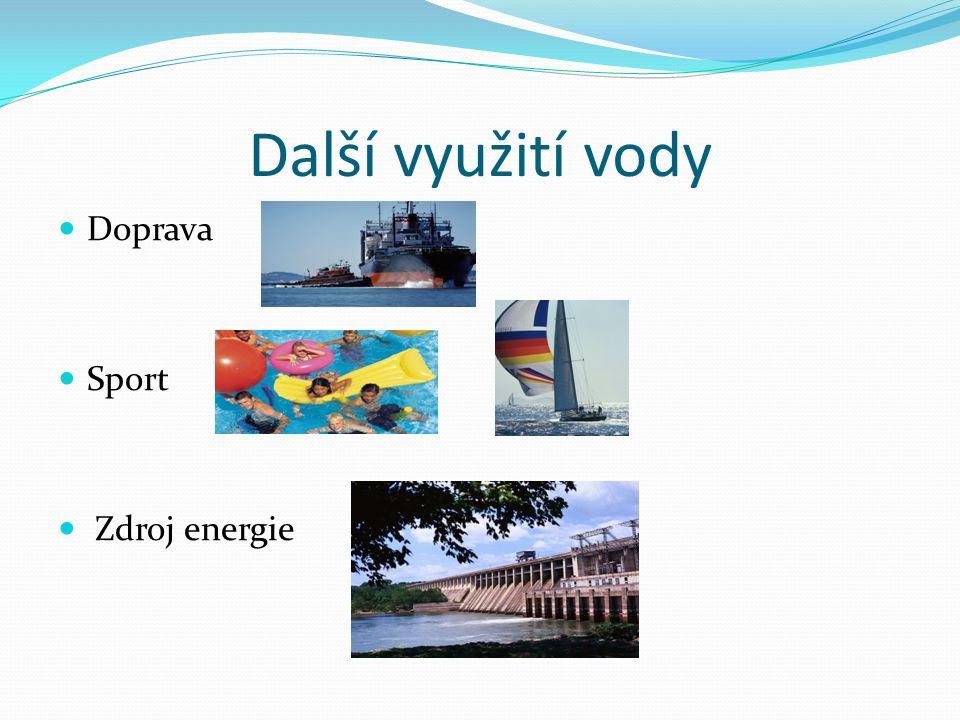 Další využití vody Doprava Sport Zdroj energie