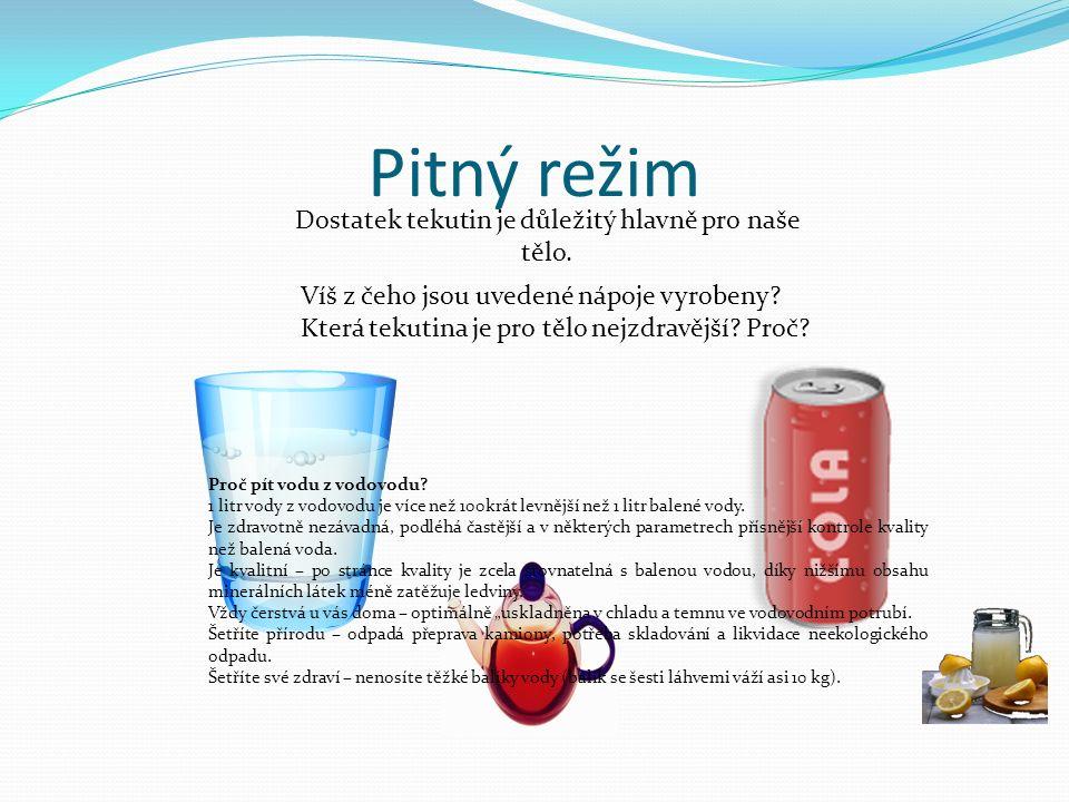 Pitný režim Dostatek tekutin je důležitý hlavně pro naše tělo. Víš z čeho jsou uvedené nápoje vyrobeny? Která tekutina je pro tělo nejzdravější? Proč?