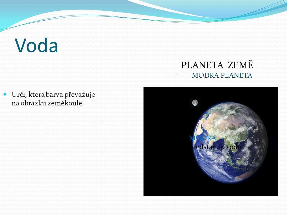 Voda Urči, která barva převažuje na obrázku zeměkoule. MODRÁ představuje vodu PLANETA ZEMĚ – MODRÁ PLANETA