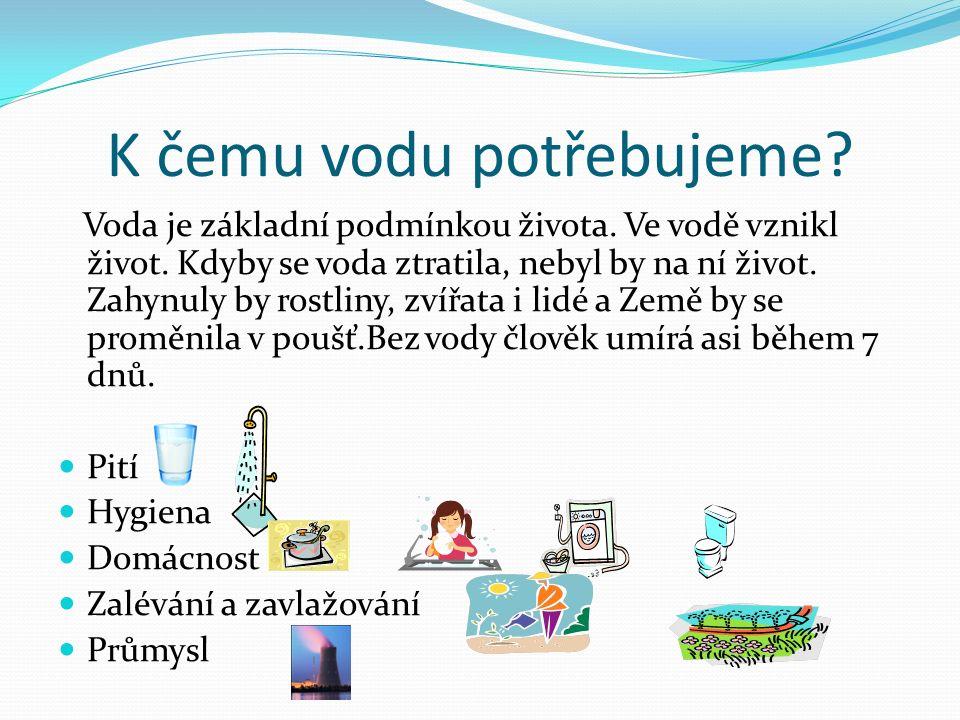 K čemu vodu potřebujeme? Voda je základní podmínkou života. Ve vodě vznikl život. Kdyby se voda ztratila, nebyl by na ní život. Zahynuly by rostliny,