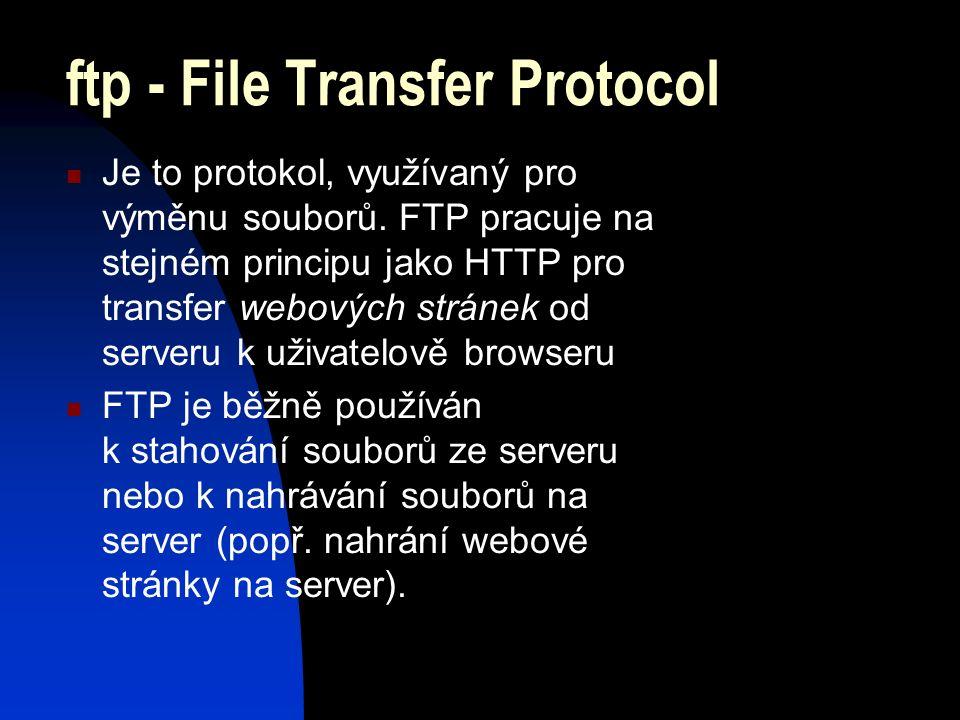 ftp - File Transfer Protocol Je to protokol, využívaný pro výměnu souborů.