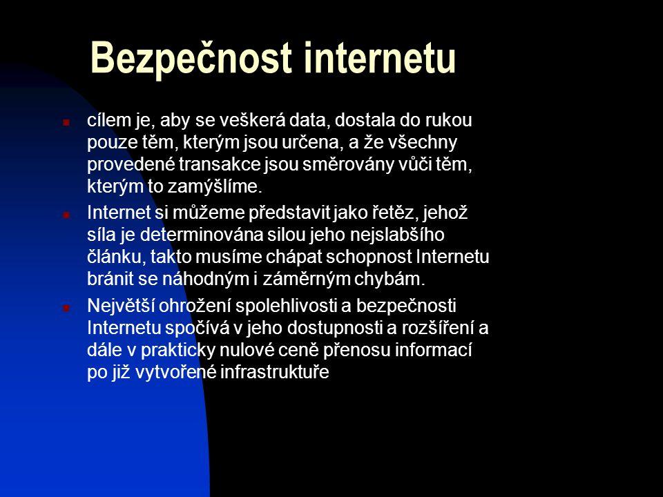 Bezpečnost internetu cílem je, aby se veškerá data, dostala do rukou pouze těm, kterým jsou určena, a že všechny provedené transakce jsou směrovány vůči těm, kterým to zamýšlíme.