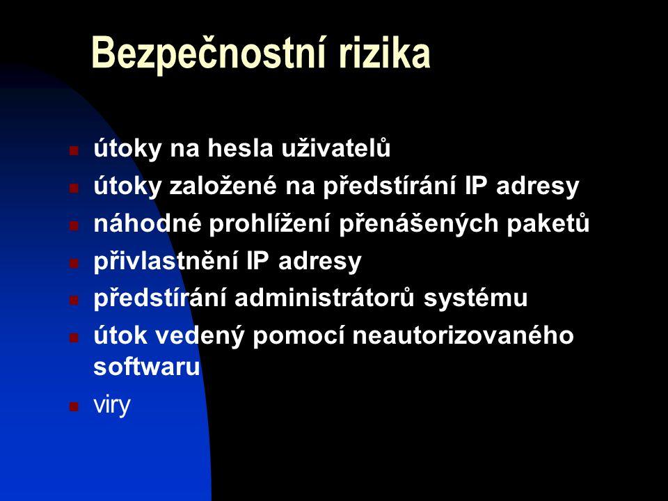 Bezpečnostní rizika útoky na hesla uživatelů útoky založené na předstírání IP adresy náhodné prohlížení přenášených paketů přivlastnění IP adresy předstírání administrátorů systému útok vedený pomocí neautorizovaného softwaru viry