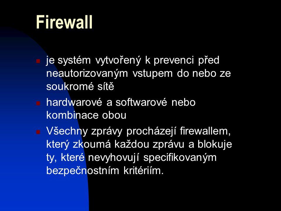 Firewall je systém vytvořený k prevenci před neautorizovaným vstupem do nebo ze soukromé sítě hardwarové a softwarové nebo kombinace obou Všechny zprávy procházejí firewallem, který zkoumá každou zprávu a blokuje ty, které nevyhovují specifikovaným bezpečnostním kritériím.