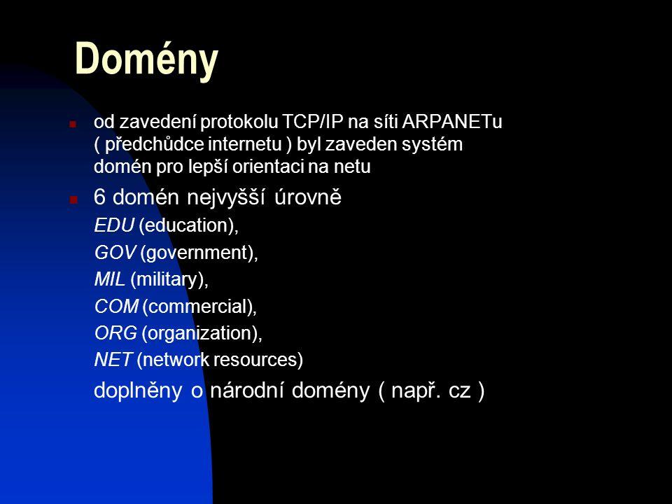 Domény od zavedení protokolu TCP/IP na síti ARPANETu ( předchůdce internetu ) byl zaveden systém domén pro lepší orientaci na netu 6 domén nejvyšší úrovně EDU (education), GOV (government), MIL (military), COM (commercial), ORG (organization), NET (network resources) doplněny o národní domény ( např.