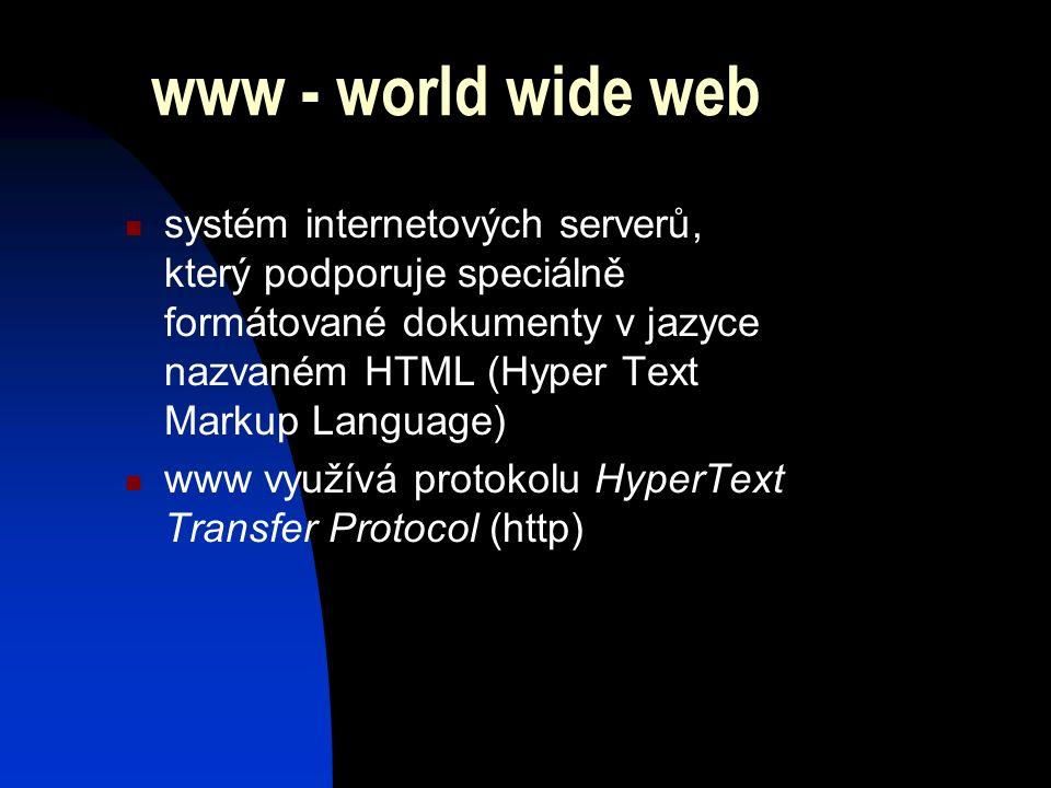 www - world wide web systém internetových serverů, který podporuje speciálně formátované dokumenty v jazyce nazvaném HTML (Hyper Text Markup Language) www využívá protokolu HyperText Transfer Protocol (http)
