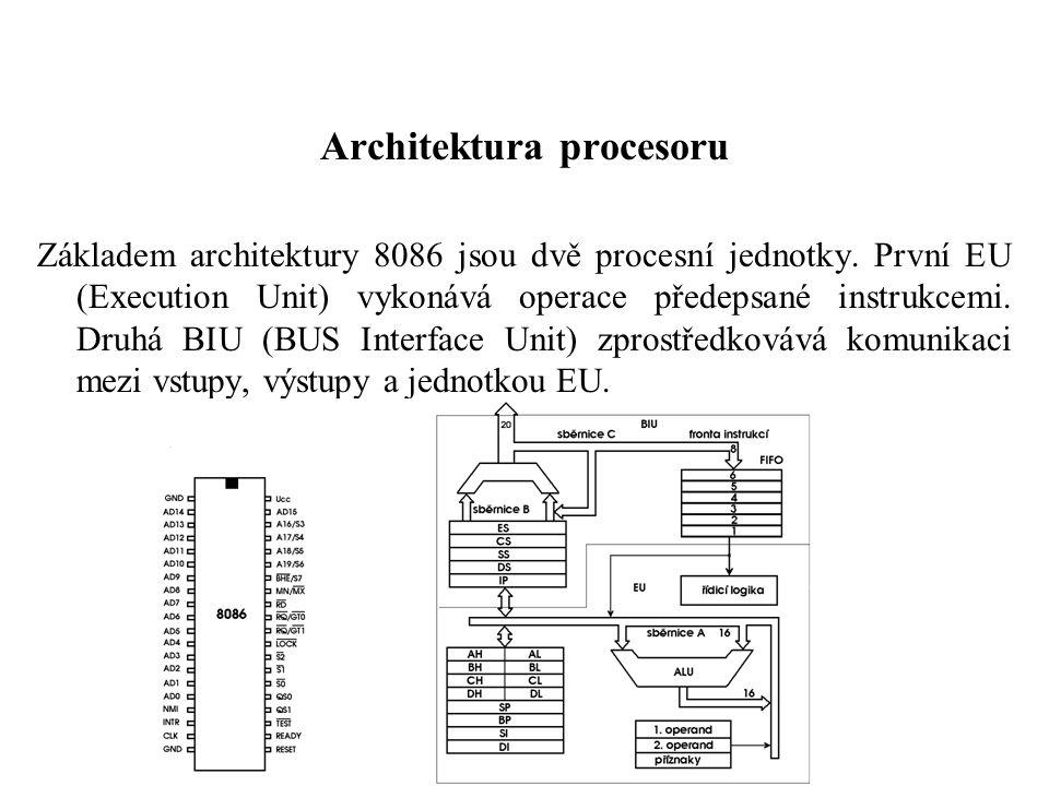 Architektura procesoru Základem architektury 8086 jsou dvě procesní jednotky.