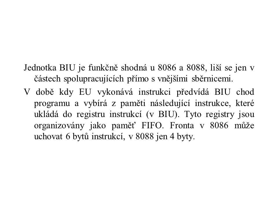 Jednotka BIU je funkčně shodná u 8086 a 8088, liší se jen v částech spolupracujících přímo s vnějšími sběrnicemi.