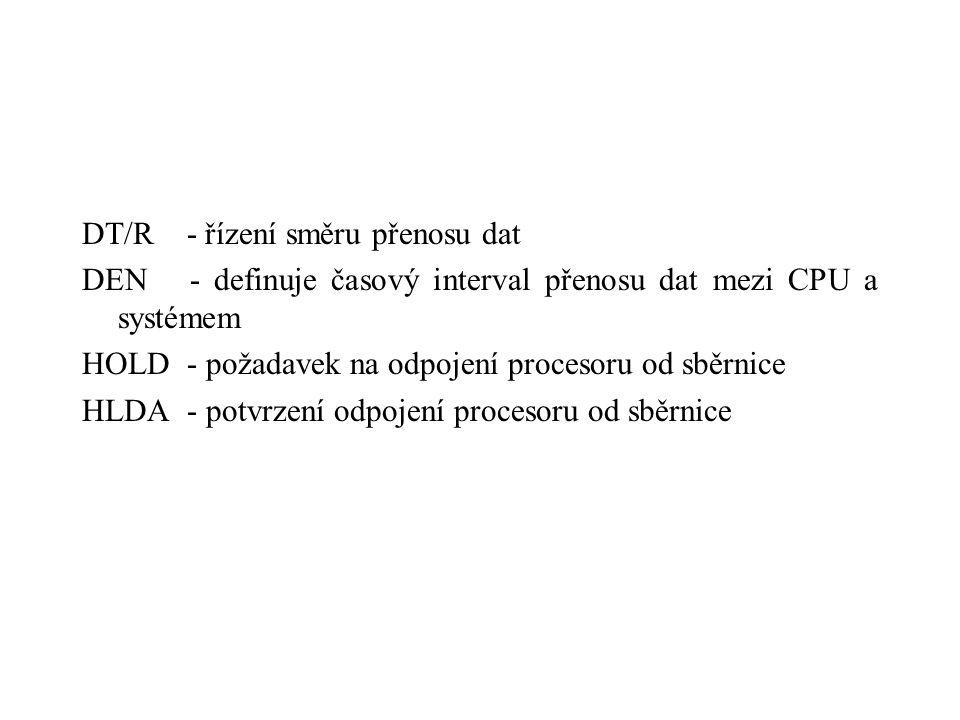 DT/R - řízení směru přenosu dat DEN - definuje časový interval přenosu dat mezi CPU a systémem HOLD - požadavek na odpojení procesoru od sběrnice HLDA - potvrzení odpojení procesoru od sběrnice