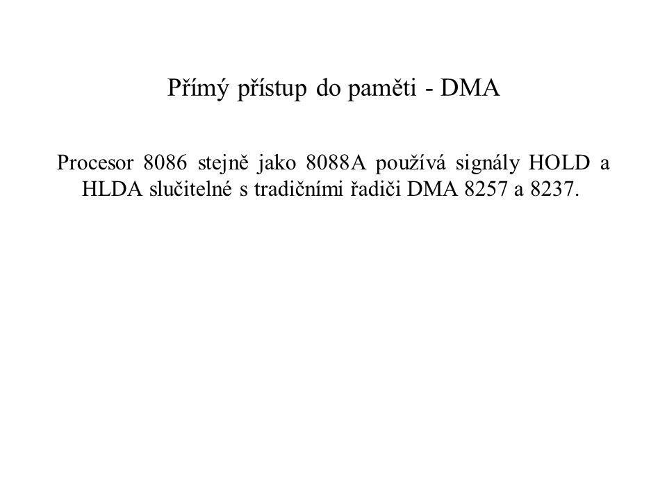 Přímý přístup do paměti - DMA Procesor 8086 stejně jako 8088A používá signály HOLD a HLDA slučitelné s tradičními řadiči DMA 8257 a 8237.
