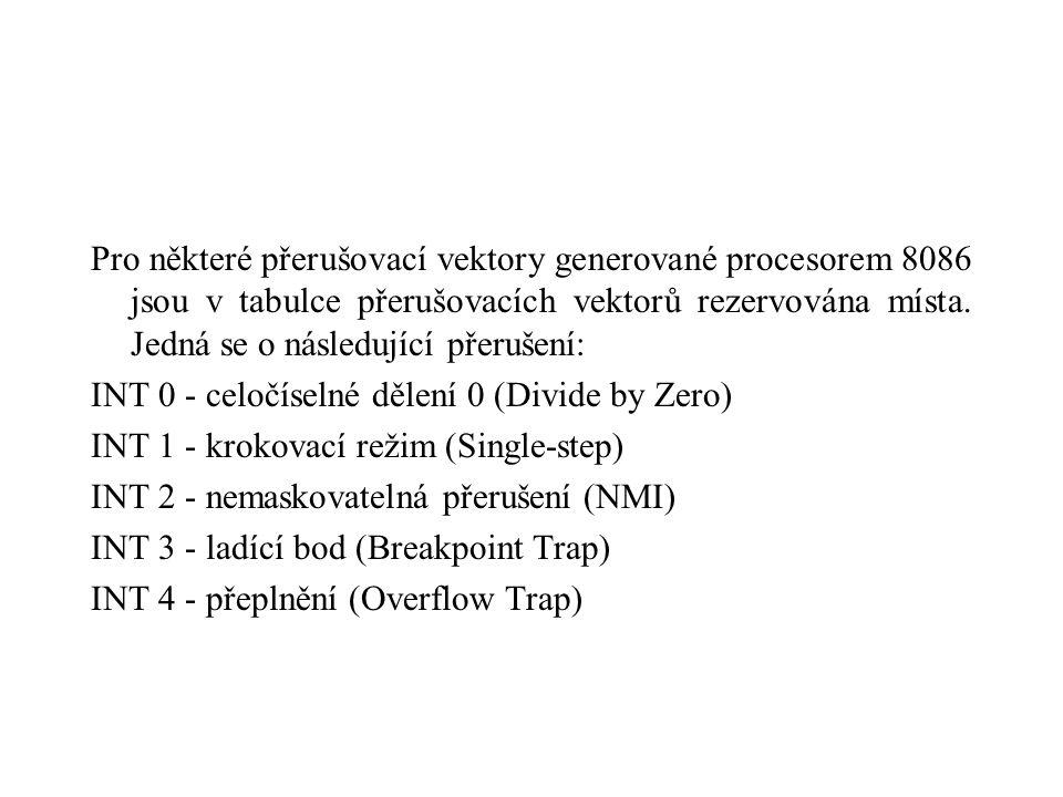 Pro některé přerušovací vektory generované procesorem 8086 jsou v tabulce přerušovacích vektorů rezervována místa.