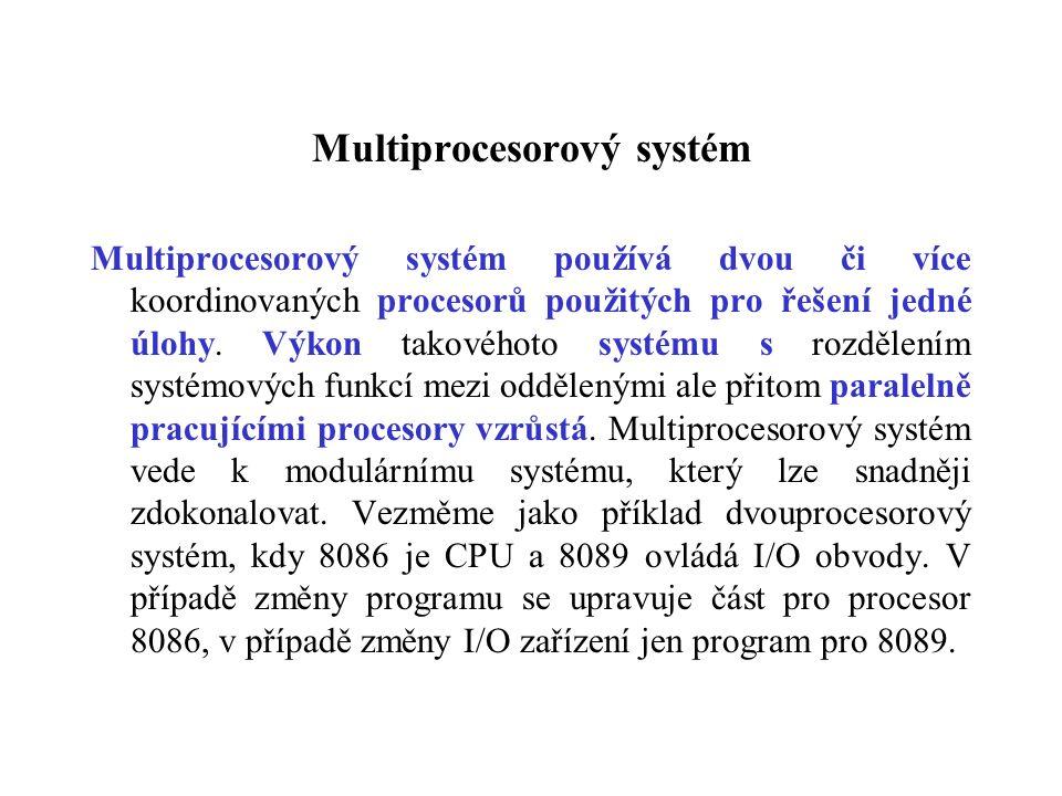 Multiprocesorový systém Multiprocesorový systém používá dvou či více koordinovaných procesorů použitých pro řešení jedné úlohy.