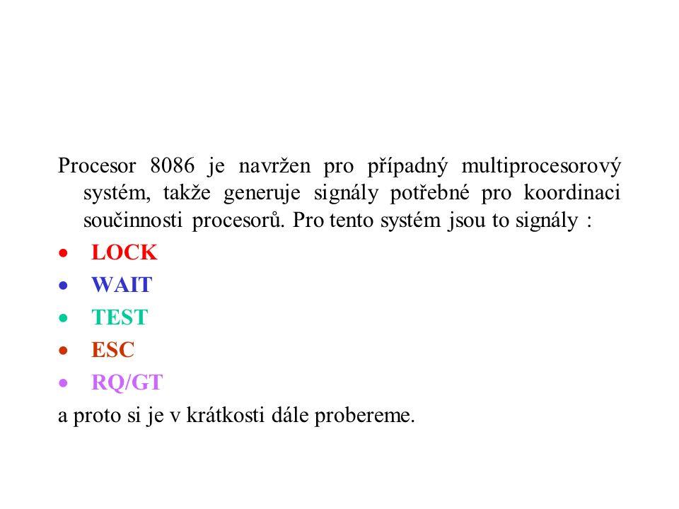Procesor 8086 je navržen pro případný multiprocesorový systém, takže generuje signály potřebné pro koordinaci součinnosti procesorů.