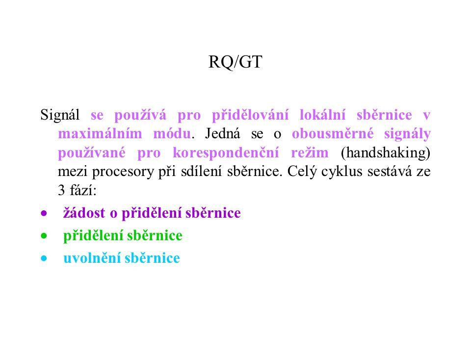 RQ/GT Signál se používá pro přidělování lokální sběrnice v maximálním módu.