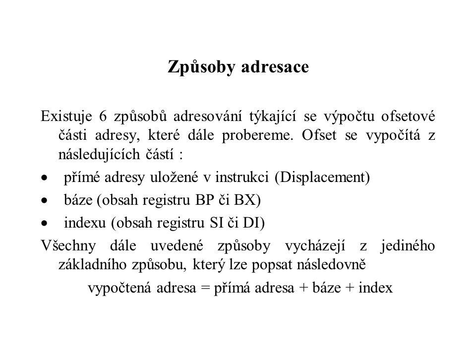 Způsoby adresace Existuje 6 způsobů adresování týkající se výpočtu ofsetové části adresy, které dále probereme.