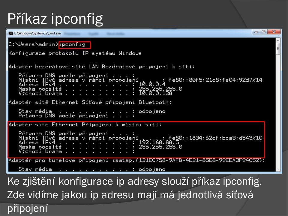 Příkaz ipconfig Ke zjištění konfigurace ip adresy slouží příkaz ipconfig.