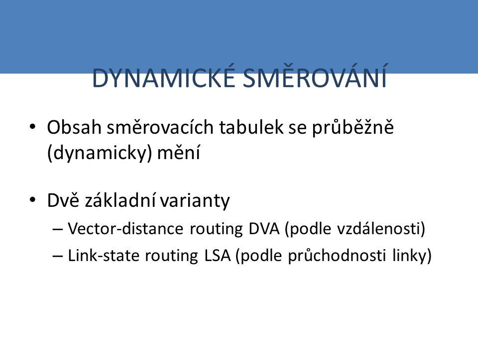 DYNAMICKÉ SMĚROVÁNÍ Obsah směrovacích tabulek se průběžně (dynamicky) mění Dvě základní varianty – Vector-distance routing DVA (podle vzdálenosti) – Link-state routing LSA (podle průchodnosti linky)