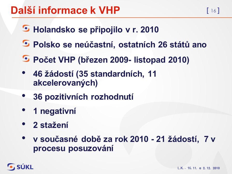[ 16 ] L.K. - 16. 11. a 2. 12. 2010 Další informace k VHP Holandsko se připojilo v r. 2010 Polsko se neúčastní, ostatních 26 států ano Počet VHP (břez