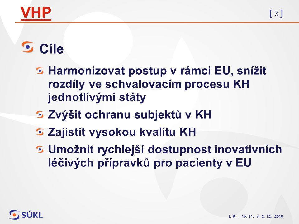 [ 3 ] L.K. - 16. 11. a 2. 12. 2010 VHP Cíle Harmonizovat postup v rámci EU, snížit rozdíly ve schvalovacím procesu KH jednotlivými státy Zvýšit ochran
