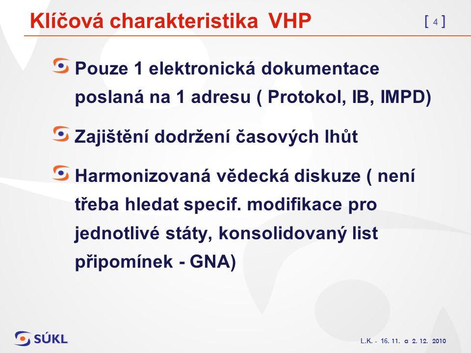 [ 4 ] L.K. - 16. 11. a 2. 12. 2010 Klíčová charakteristika VHP Pouze 1 elektronická dokumentace poslaná na 1 adresu ( Protokol, IB, IMPD) Zajištění do