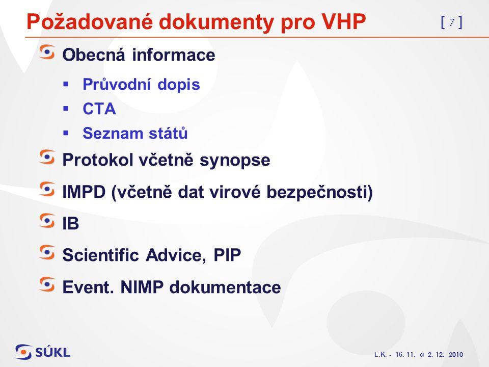 [ 7 ] L.K. - 16. 11. a 2. 12. 2010 Požadované dokumenty pro VHP Obecná informace  Průvodní dopis  CTA  Seznam států Protokol včetně synopse IMPD (v