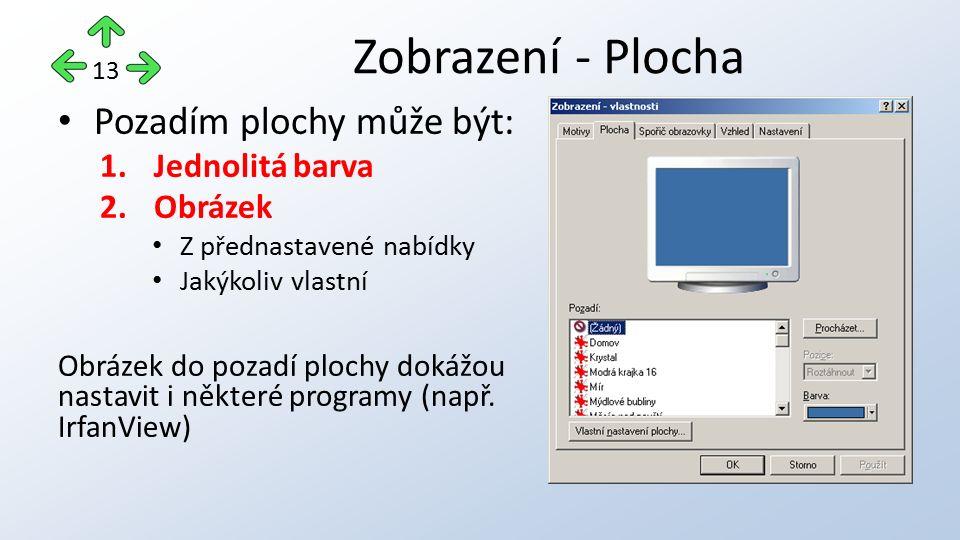 Pozadím plochy může být: 1.Jednolitá barva 2.Obrázek Z přednastavené nabídky Jakýkoliv vlastní Obrázek do pozadí plochy dokážou nastavit i některé programy (např.
