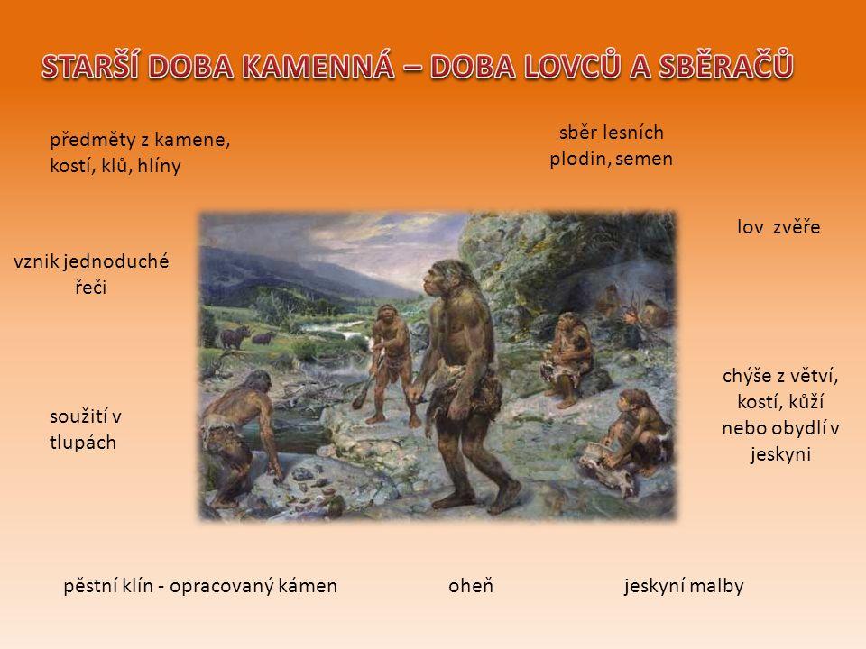 sběr lesních plodin, semen lov zvěře chýše z větví, kostí, kůží nebo obydlí v jeskyni oheňpěstní klín - opracovaný kámen soužití v tlupách jeskyní malby vznik jednoduché řeči předměty z kamene, kostí, klů, hlíny