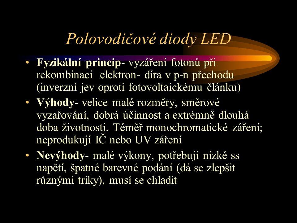 Polovodičové diody LED Fyzikální princip- vyzáření fotonů při rekombinaci elektron- díra v p-n přechodu (inverzní jev oproti fotovoltaickému článku) Výhody- velice malé rozměry, směrové vyzařování, dobrá účinnost a extrémně dlouhá doba životnosti.