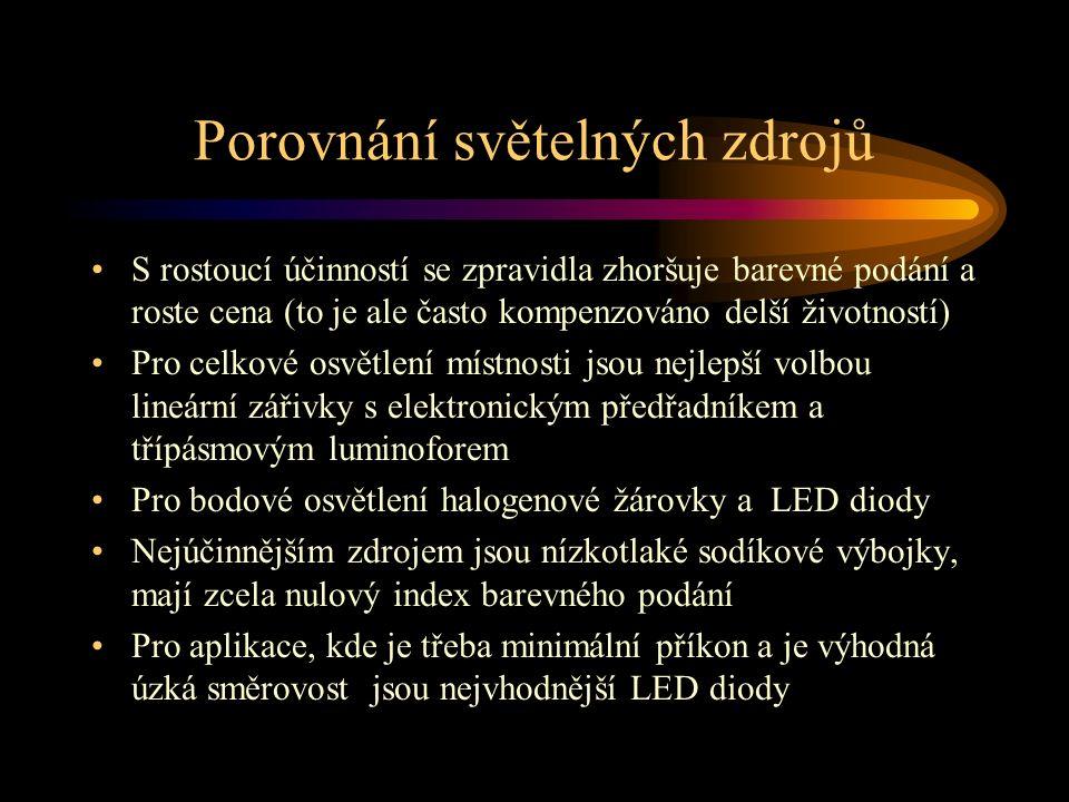 Porovnání světelných zdrojů S rostoucí účinností se zpravidla zhoršuje barevné podání a roste cena (to je ale často kompenzováno delší životností) Pro celkové osvětlení místnosti jsou nejlepší volbou lineární zářivky s elektronickým předřadníkem a třípásmovým luminoforem Pro bodové osvětlení halogenové žárovky a LED diody Nejúčinnějším zdrojem jsou nízkotlaké sodíkové výbojky, mají zcela nulový index barevného podání Pro aplikace, kde je třeba minimální příkon a je výhodná úzká směrovost jsou nejvhodnější LED diody